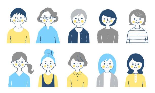 様々な年齢の10人の女性のセット - 主婦 日本人点のイラスト素材/クリップアート素材/マンガ素材/アイコン素材