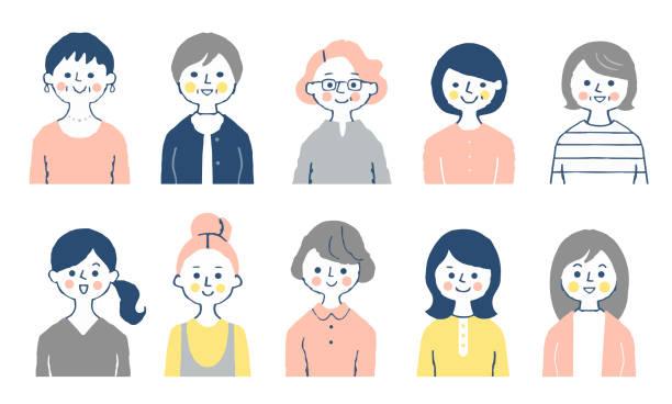 様々な年齢の10人の女性のセット - 家族 日本人点のイラスト素材/クリップアート素材/マンガ素材/アイコン素材