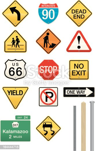 Vector illustrations of a wide assortment of street and highway signs. Includes three different post styles which work with all of the signs. Easily editable colors and shapes. Use as is or drop in your own text.