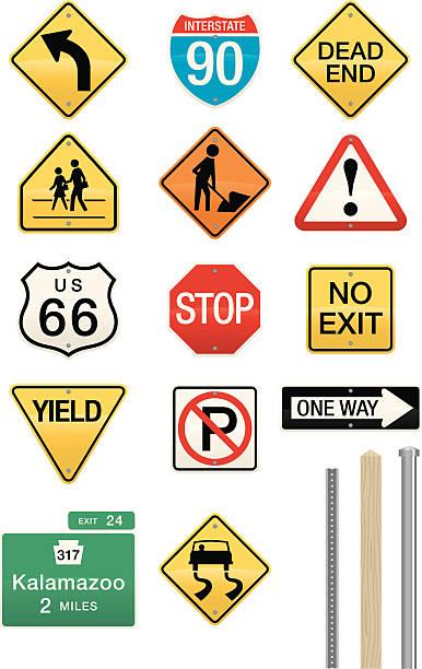ilustraciones, imágenes clip art, dibujos animados e iconos de stock de juego de 14 la señal de vectores - señalización vial