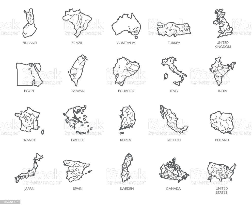 Set of 20 maps in linear style of different countries england set of 20 maps in linear style of different countries england america asia gumiabroncs Choice Image