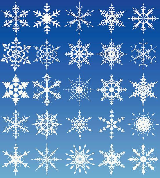 Set of 25 different snowflake designs vector art illustration