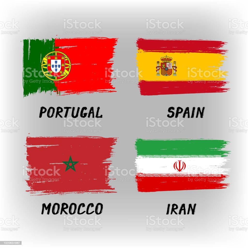 Set Of 4 Flags - Portugal Spain Morocco Iran - ilustração de arte vetorial