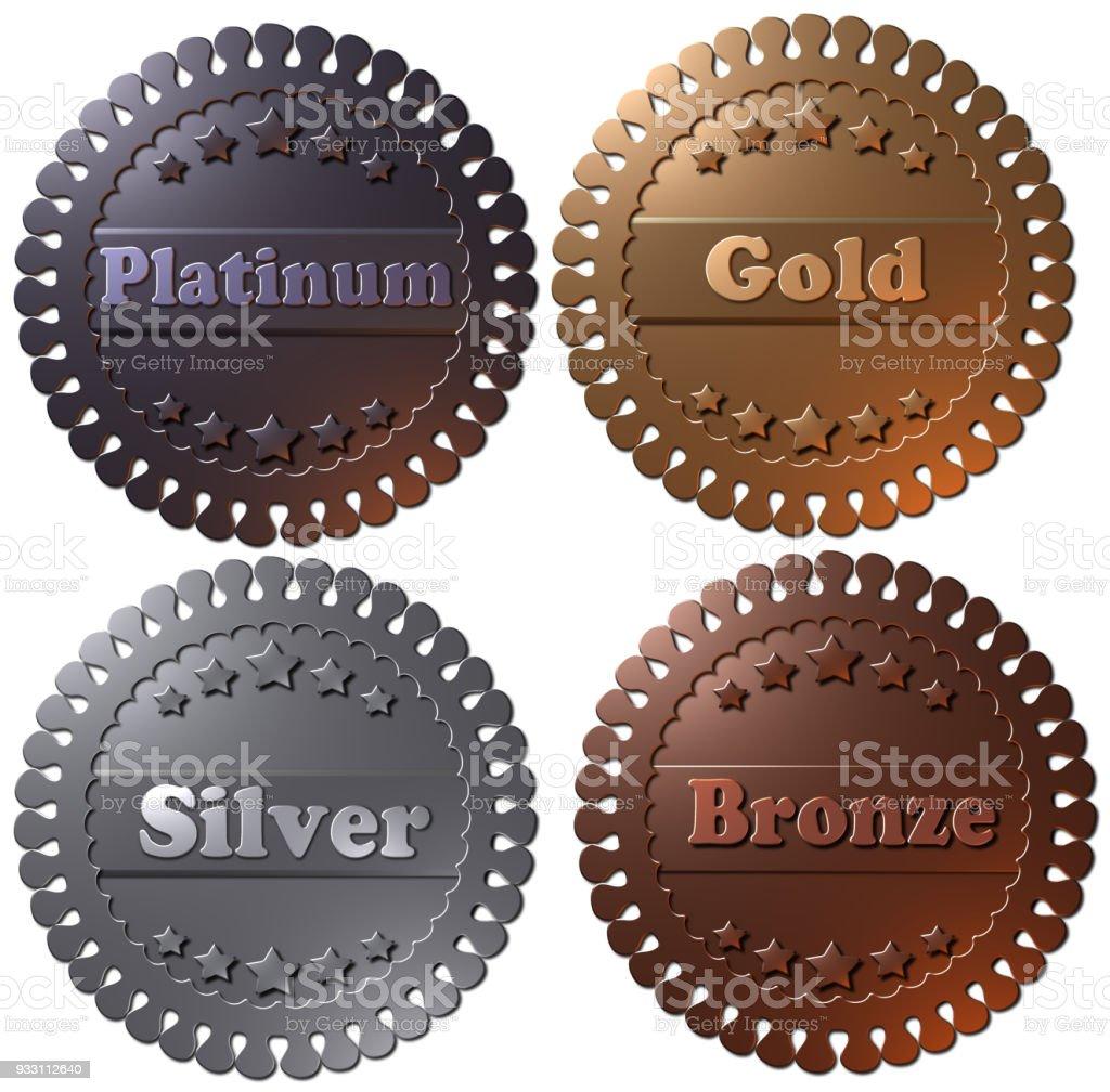 Set of 4 medals (Platinum, Gold, Silver, Bronze) vector art illustration