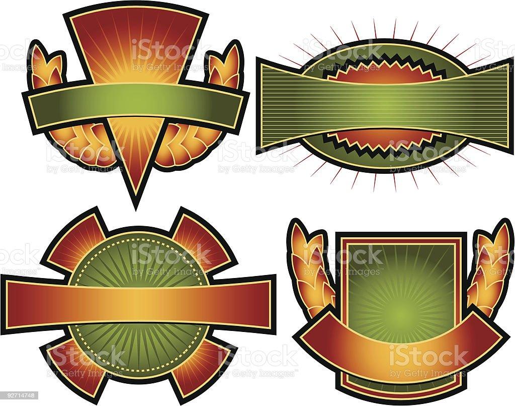 Set of 4 Vector Emblems & Crests royalty-free set of 4 vector emblems crests stock vector art & more images of award