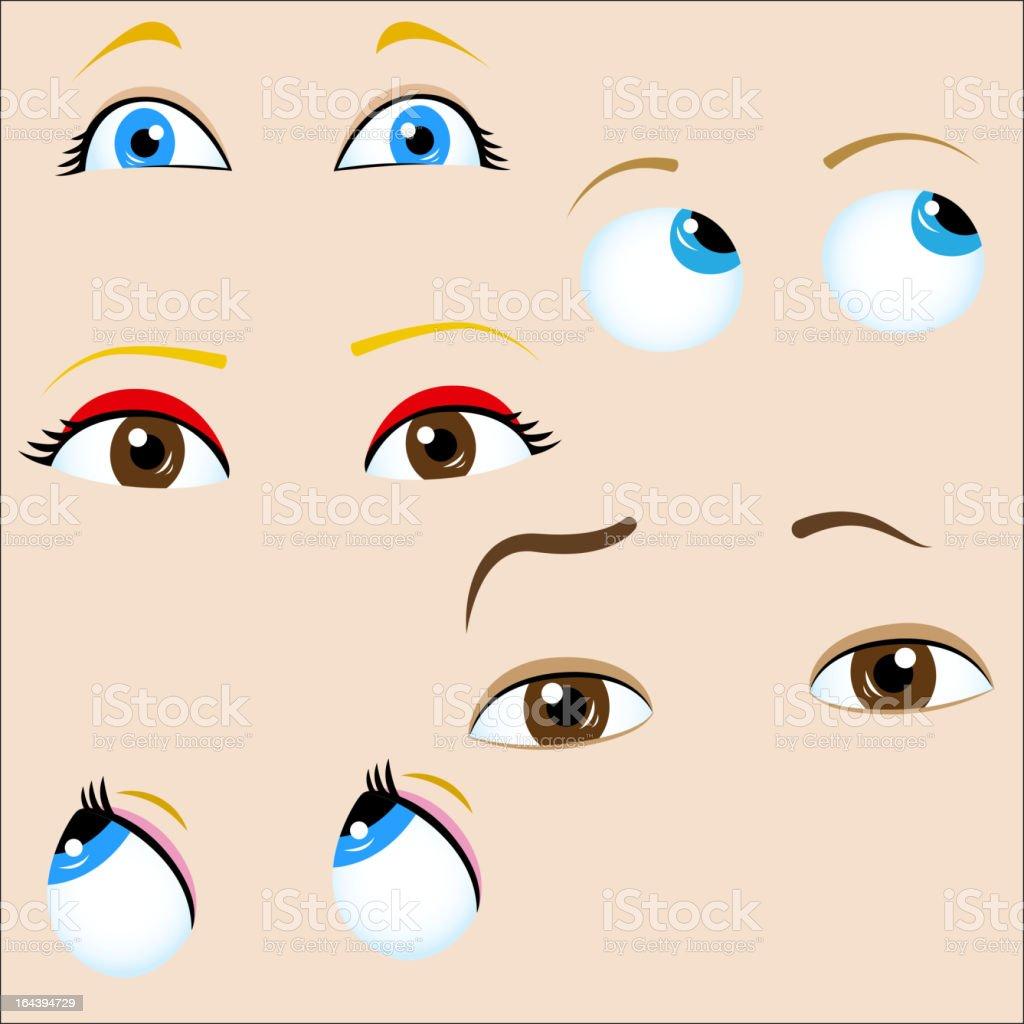 Set of 5 cartoon eyes. vector art illustration