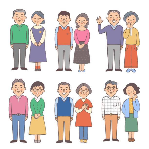 笑顔で立っている6人のシニアカップルのセット - 主婦 日本人点のイラスト素材/クリップアート素材/マンガ素材/アイコン素材