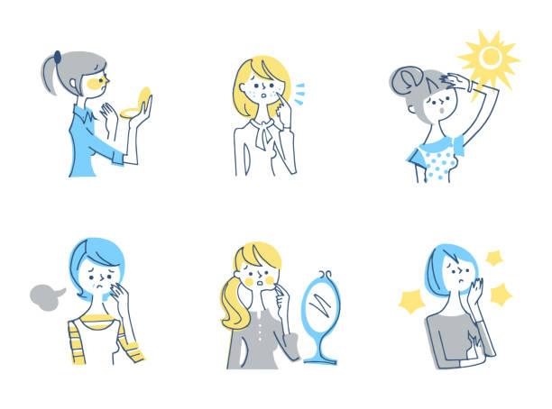illustrations, cliparts, dessins animés et icônes de ensemble de 6 types de femmes ayant des problèmes de peau - femme tache de rousseur