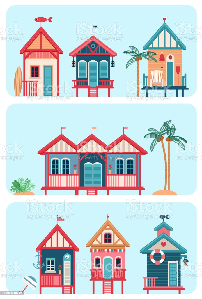 Set of 7 various multicolored Beach huts. vector art illustration