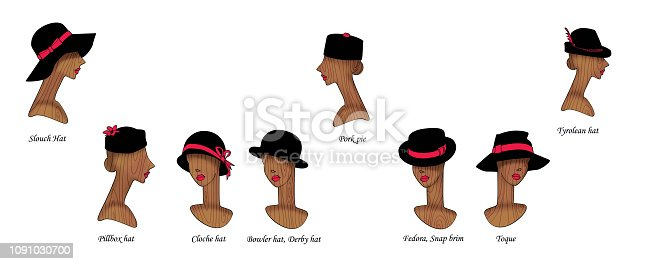 A set of 8 variants of fashionable and retro female hats on wooden mannequins of female heads. Isolated on white background