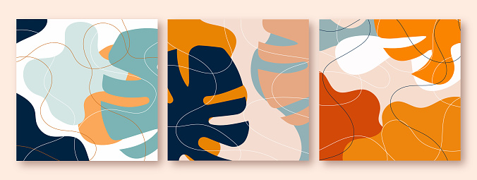 Set of abstract vegetal natural posters in blue, terracotta and pastel nude colors with lines and shapes.Silhouettes of tropical leaves, monstera.Illustrations for interior decoration in boho style.