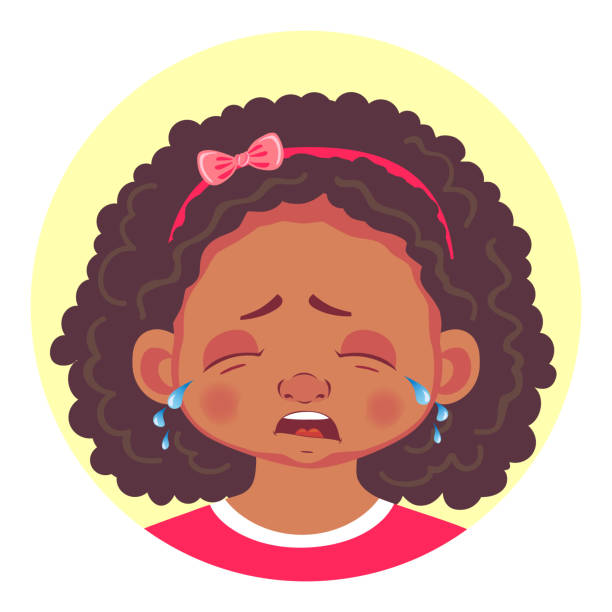 ilustraciones, imágenes clip art, dibujos animados e iconos de stock de conjunto de emociones de las niñas africanas - lágrimas de emoji alegre