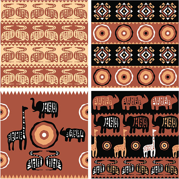 set of african tribal nahtlose kacheln - elefantenkunst stock-grafiken, -clipart, -cartoons und -symbole