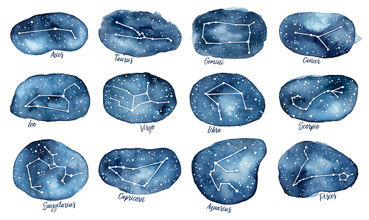 Set of all 12 Zodiac Signs as Constellations in the Dark Starry Sky.