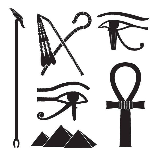 Set of ancient egypt silhouettes vector art illustration
