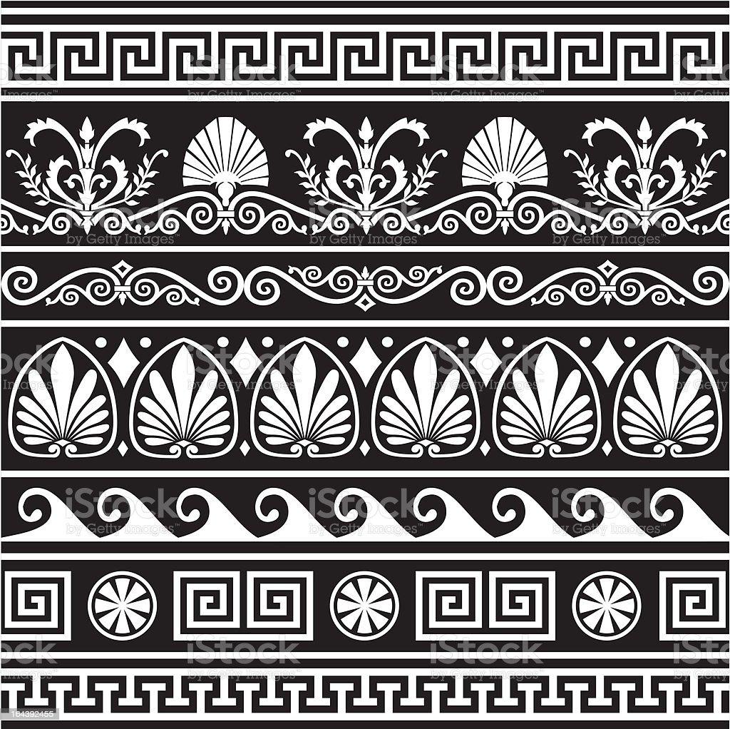 Set of antique greek borders on black vector art illustration