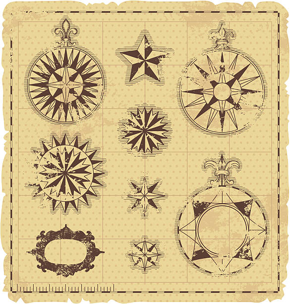 set of antique navigation elements - treasure map backgrounds stock illustrations