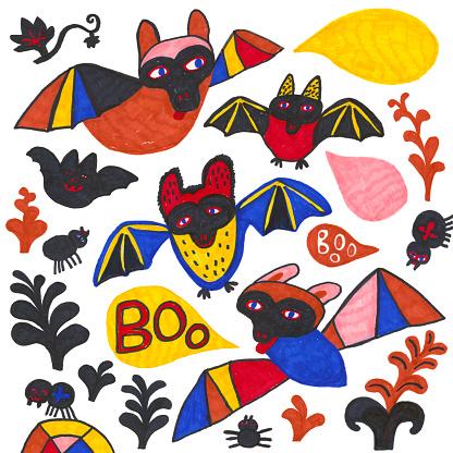 Set of bats, spiders, plants and speech bubbles