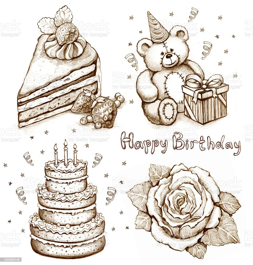 Set of birthday illutrations royalty-free set of birthday illutrations stock vector art & more images of art
