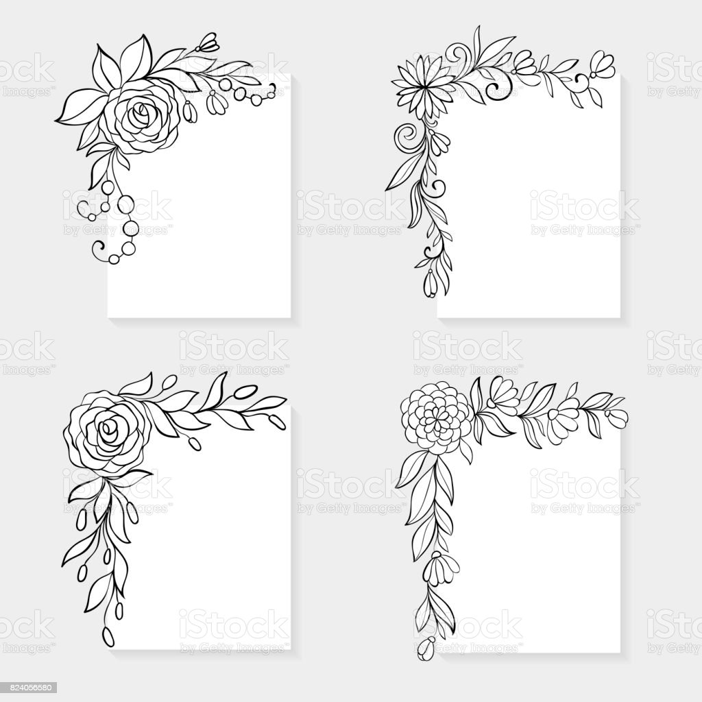 set of black and white hand drawn corner floral borders stock illustration download image now istock set of black and white hand drawn corner floral borders stock illustration download image now istock