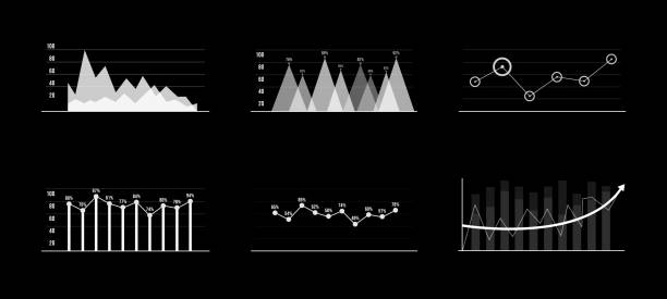 set of black and white infographic elements. head-up display elements for the web and app. futuristic user interface. virtual graphic. hud - facial recognition stock illustrations