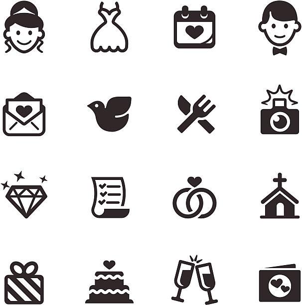 satz von weiß und schwarz hochzeit symbole - kirchenschmuck stock-grafiken, -clipart, -cartoons und -symbole
