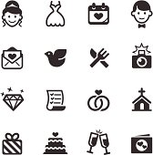 Set of black and white wedding icons