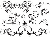 Set of Black floral elements