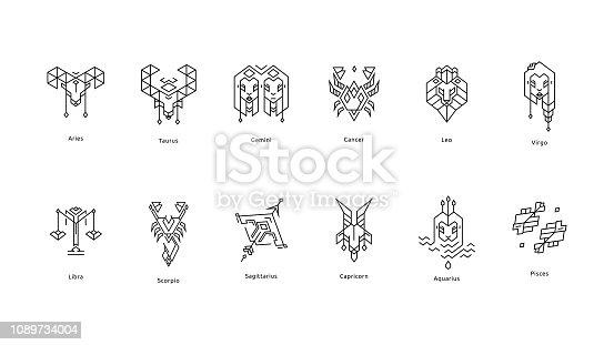 Set of Black Zodiac Line icons on white background.