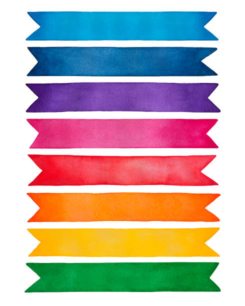 bildbanksillustrationer, clip art samt tecknat material och ikoner med uppsättning av tomma färgglada band. söta ljus dekorativa bakgrund för texten, meddelande, obs, inredning, design. - blue yellow band