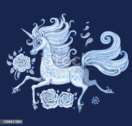 Set of blue hand drawn fairy tale unicorn horse and rose flowers. Watercolor painted fantasy animal and floral elements on a dark indigo blue background. Batik paint, tee shirt print, book cover