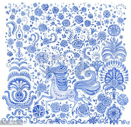 Set of blue hand drawn fairy tale unicorn horse and rose flowers. Watercolor painted fantasy animal and floral elements isolated on a white background. Batik paint, tee shirt print, book cover