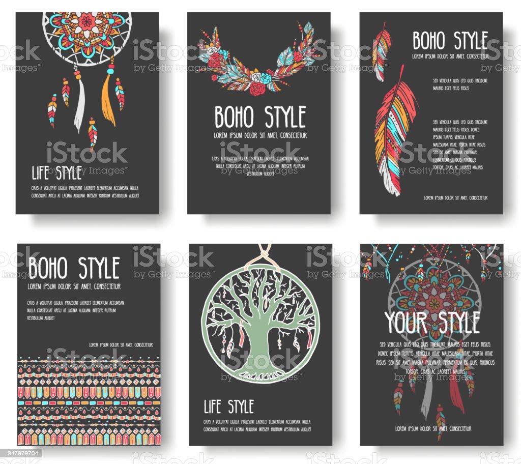 Set Of Boho Ornament Illustration Style Concept Art Traditional