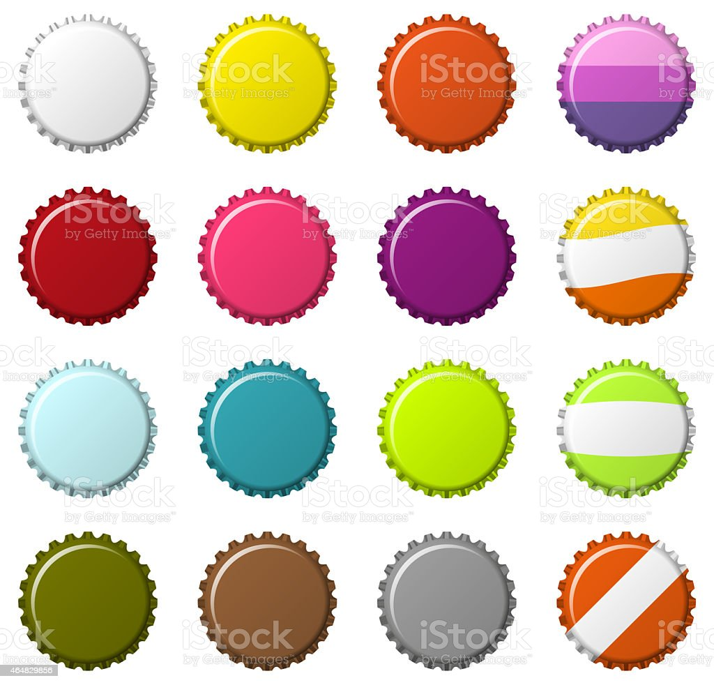 Set of bottlecaps vector art illustration