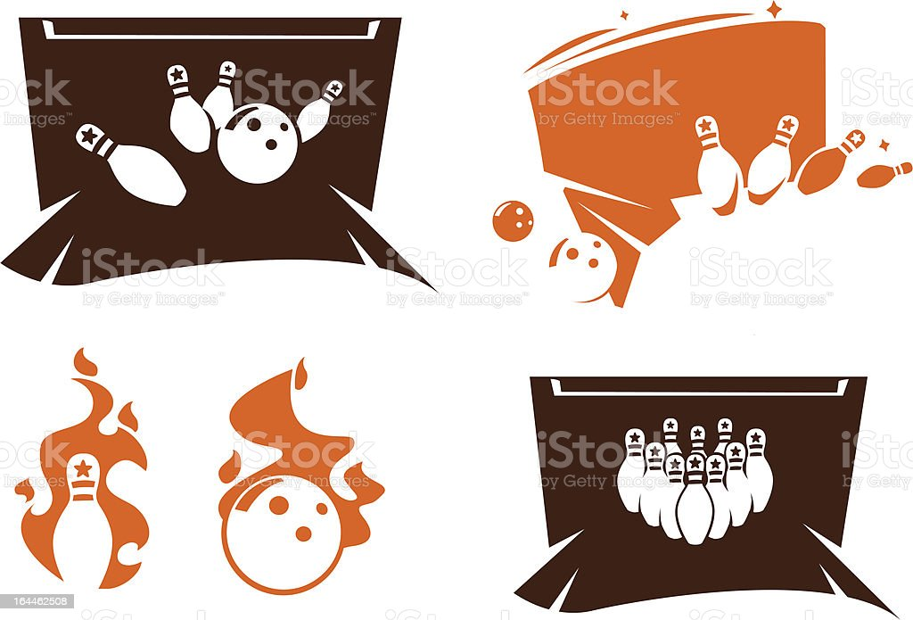 Set of bowling simbols vector art illustration