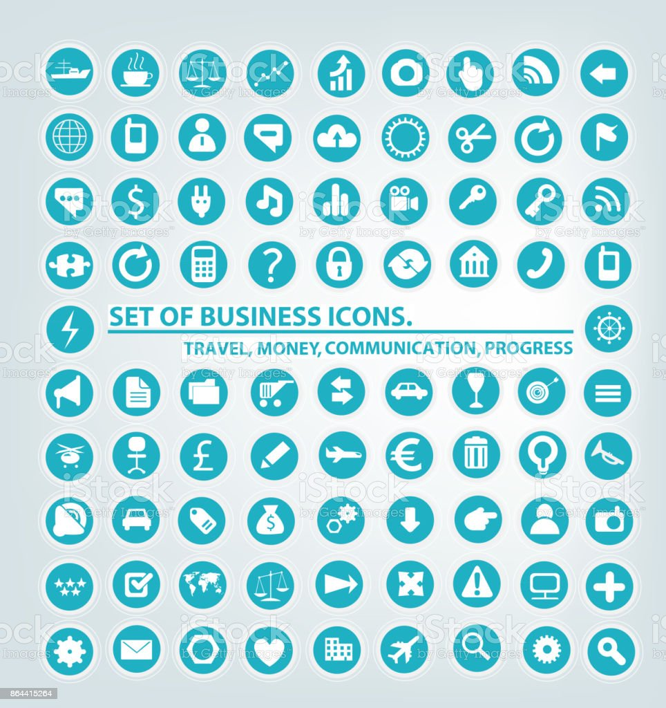 Set of business communication icons. Business network vector art illustration