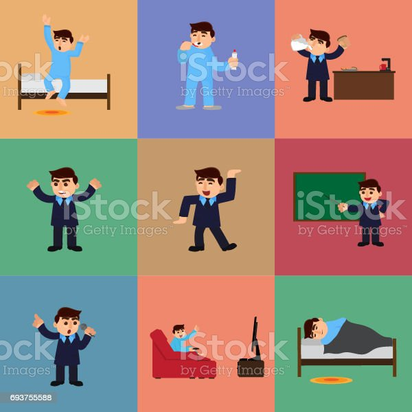 Set of businessman daily routine from morning to night with young man cartoon character. vector art illustration
