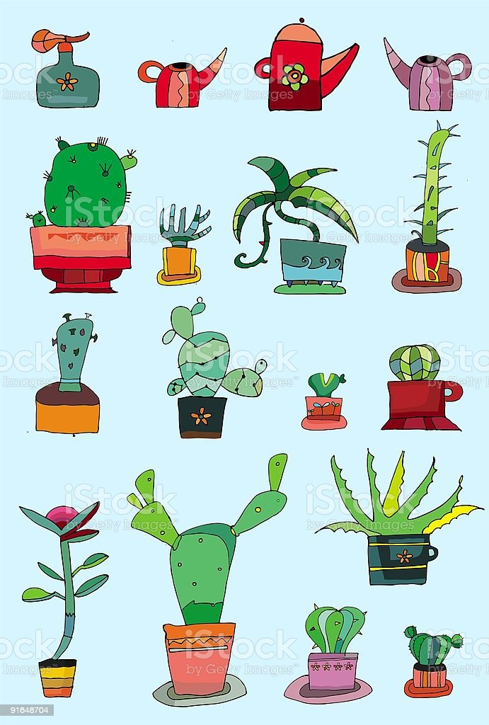 set of cactuses royalty-free stock vector art