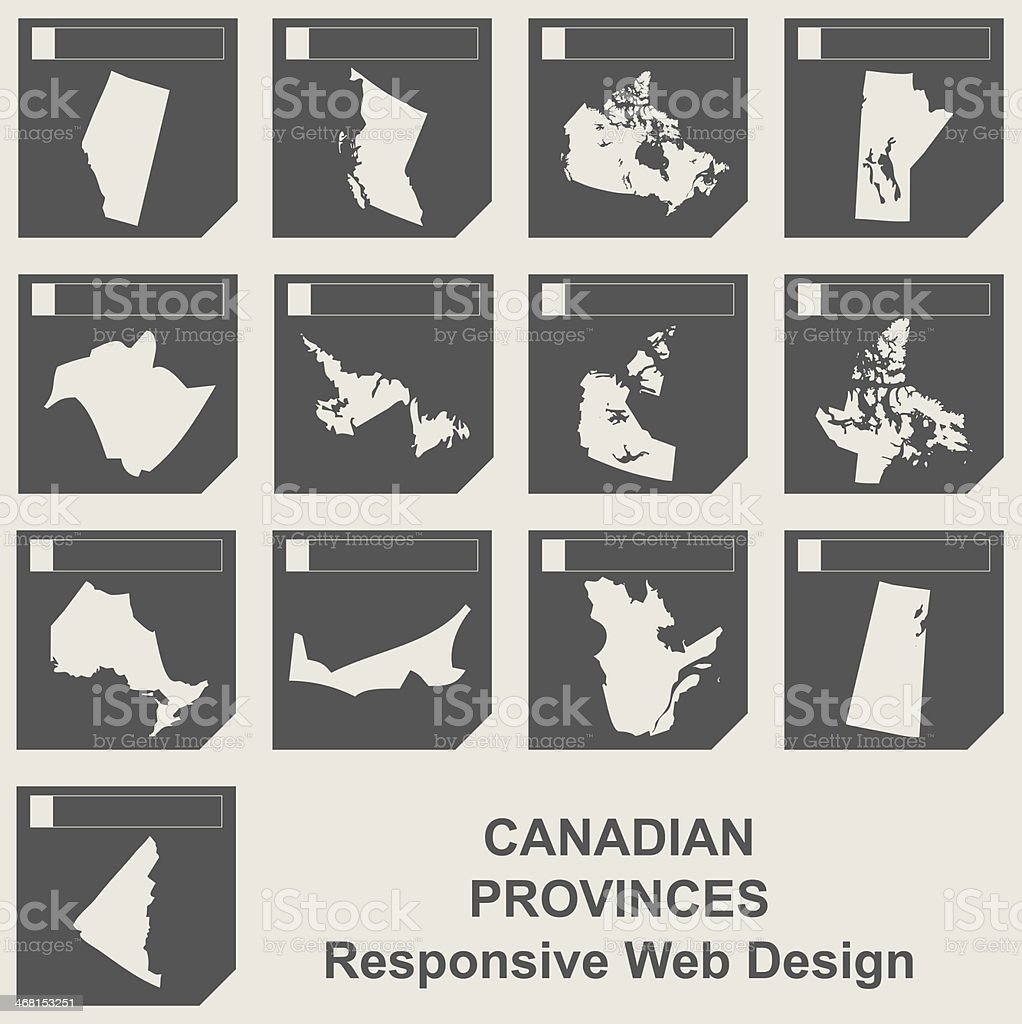 Set of Canadian province map buttons vector art illustration