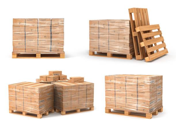 stockillustraties, clipart, cartoons en iconen met set van kartonnen dozen op houten pallet. levering concept. 3d illustratie illustratie geïsoleerd op witte achtergrond - pallet