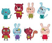 istock Set of cartoon characters over white background 477608080