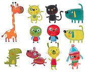 istock Set of cartoon characters over white background 477608084