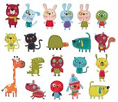 istock Set of cartoon characters over white background 477608086