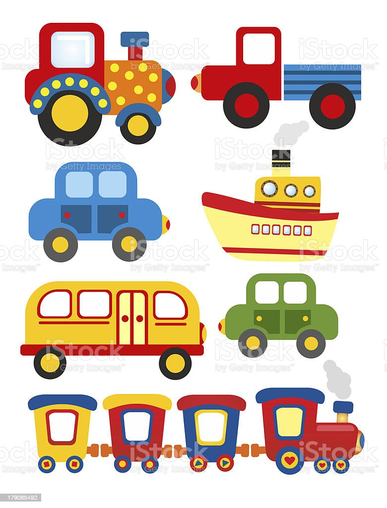 Set of cartoon transport stock vector art 179085492 istock for Abc motor credit gilchrist rd