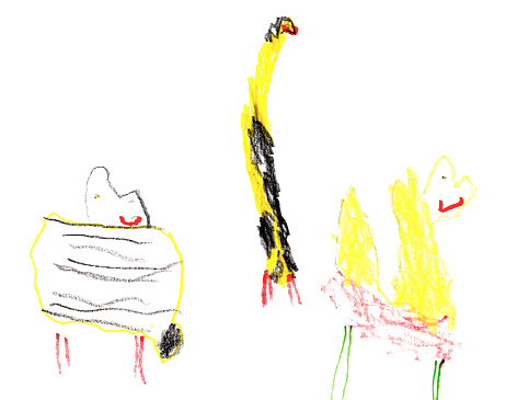 Set of children's drawings - exotic animals. Doodle style.