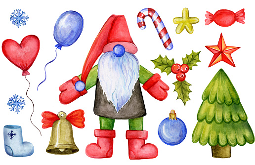 Set of Christmas decorations and Santa Claus. Watercolor illustration