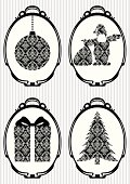 """""""Set of Christmas retro icons with bauble, Santa Claus, present and new year tree on striped background."""""""