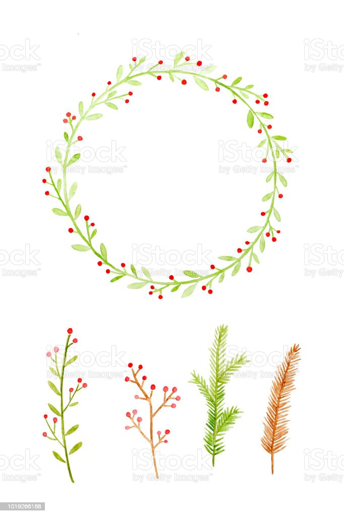 Set of Christmas wreath watercolor painting isolated on white background, Illustration art design Christmas invitation and greeting card background vector art illustration