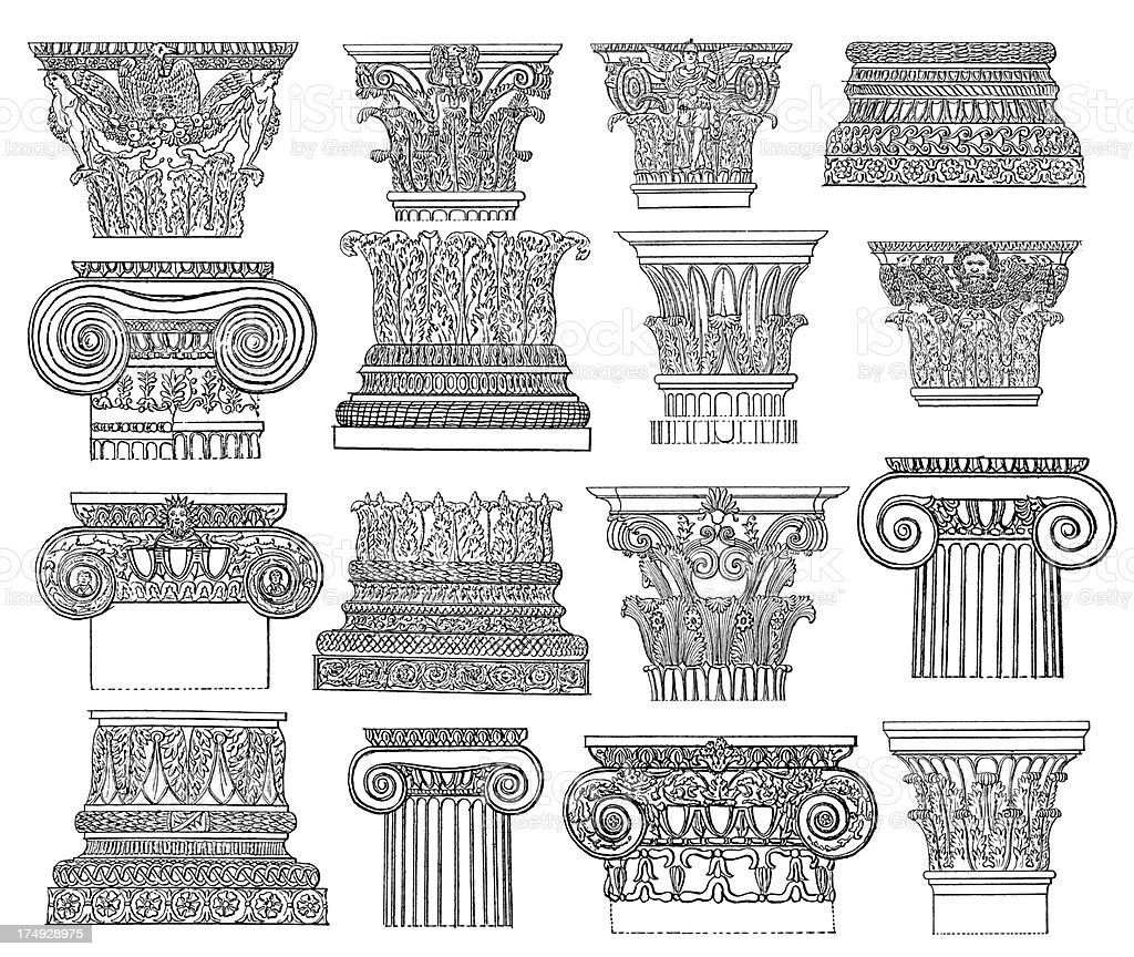 Set of Classical Column Elements | Antique Architectural Illustrations royalty-free set of classical column elements antique architectural illustrations stock vector art & more images of ancient civilization