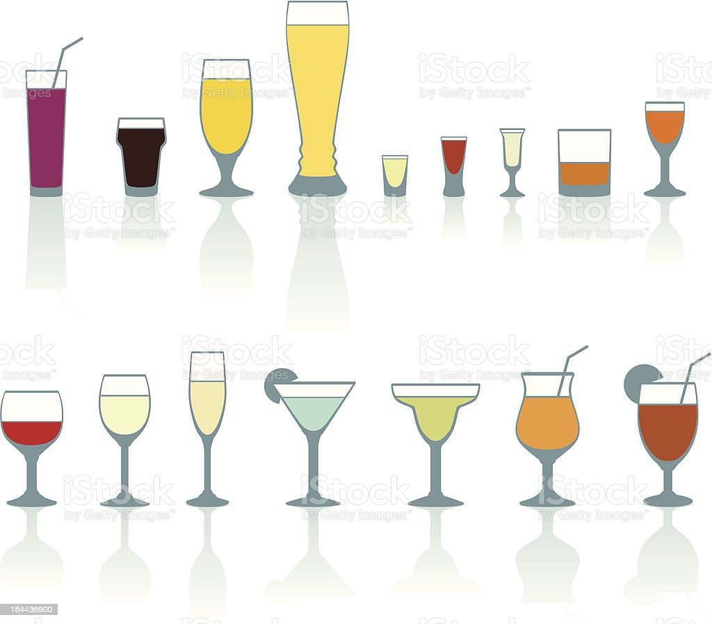 Set of cold drink glasses royalty-free stock vector art